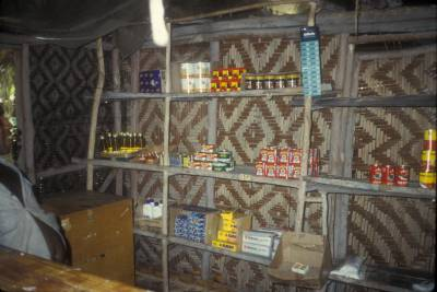 Goods on sale in a trade store in Tambunum village, East Sepik Province, PNG, 1988
